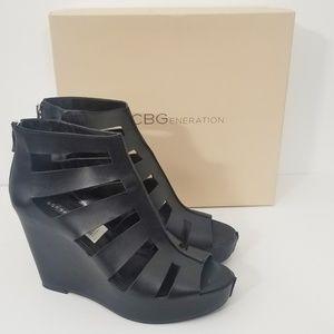 BCBGeneration Torrez Leather Caged Wedge Sandals